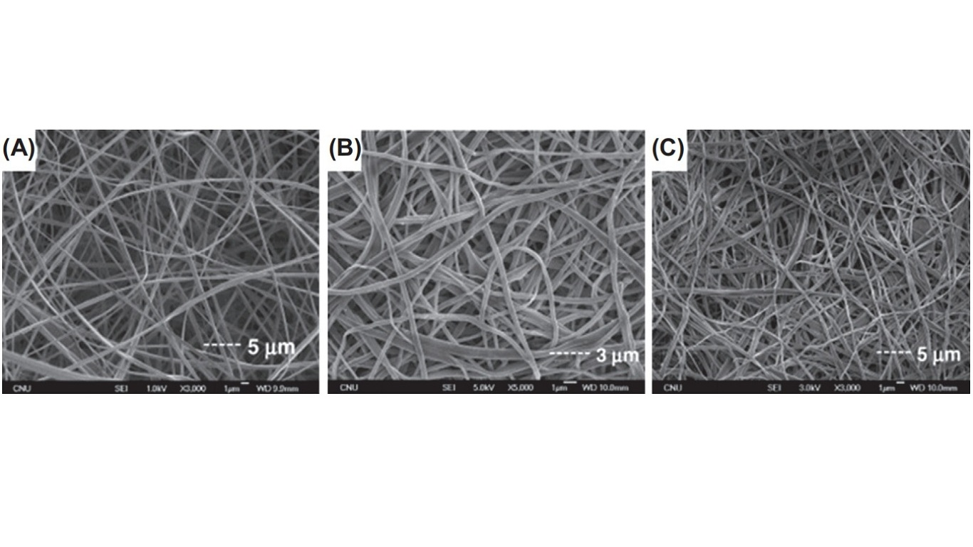 Scanning electron microscopy images of (A) CA nanofibers electrospun from 17 wt% CA solution in a mixture of acetic acid/water at a ratio of 75:25. Afterward CA nanofibers were deacetylated using (B) 0.5 M NaOH aqueous solution and (C) 0.5 M KOH/ethanol solution. CA, cellulose acetate.