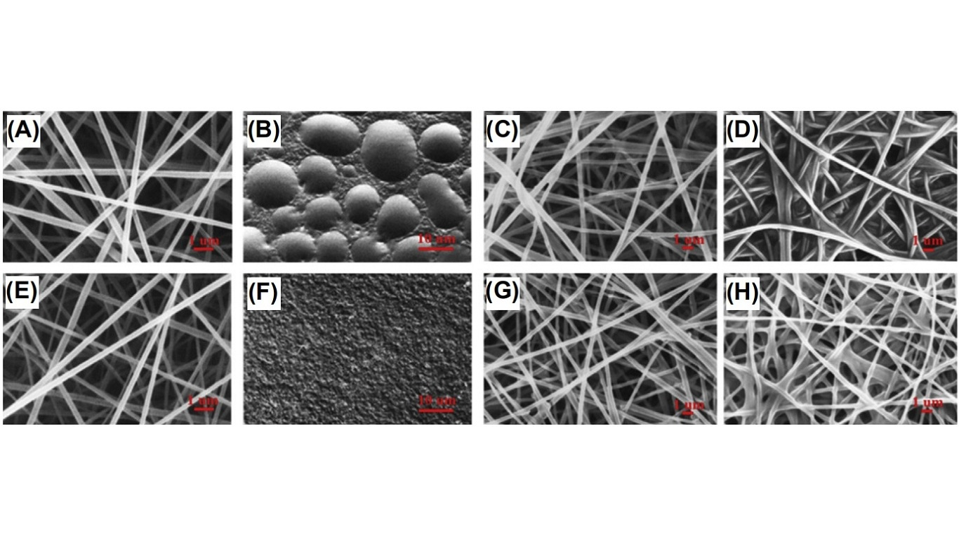 Scanning electron microscopy images of (A) as-spun CA fiber mat from 17% (w/v) CA dissolved in a mixture of acetone/DMAc (2:1, v/v) containing 5 wt% vitamin E, (B) as-cast CA film from 4% (w/v) CA dissolved in a mixture of acetone/DMAc (2:1, v/v) containing 5 wt% vitamin E, (C and D) vitamin Eeloaded as-spun CA fiber mats after immersion in (C) B/T or (D) B/T/M medium for 24 h, as-spun CA fiber mat fabricated from (E) 17% (w/v) and (F) 4% (w/v) of CA dissolved in a mixture of acetone/DMAc (2:1, v/v) containing 0.5 wt% retin-A, and retin-A-loaded as-spun CA fiber mats after immersion in (G) B/T or (H) B/T/M medium for 6 h. CA, cellulose acetate; DMAc, dimethylacetamide; B/T stands for the releasing medium prepared by adding 0.5% of a non-ionic surfactant and Tween 80 to the acetate buffer solution; B/T/M stands for the releasing medium prepared by adding 0.5% of Tween 80 and 10% of methanol in the acetate buffer solution